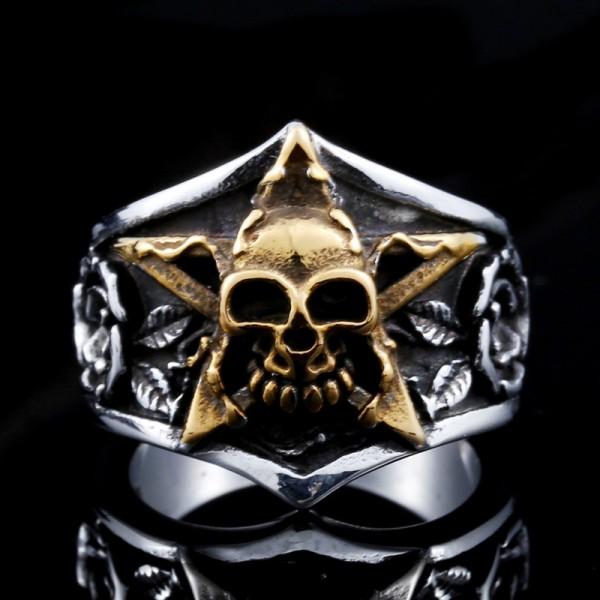 Titanium steel men's rose Pentagram skull ring