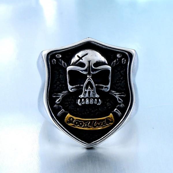 Titanium steel men's good luck skull ring