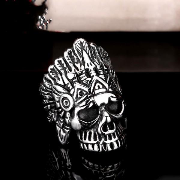 Stainless steel men's punk style skull ring