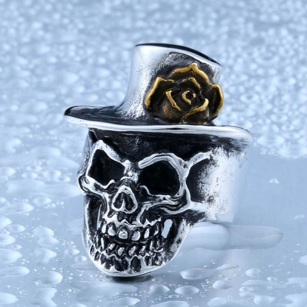 Titanium steel men's rose gold skull ring