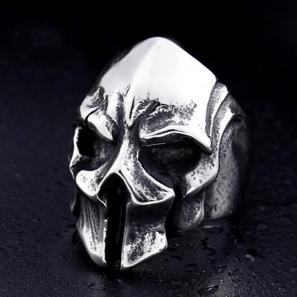 Men's Titanium Steel Spartan Warrior Mask Ring