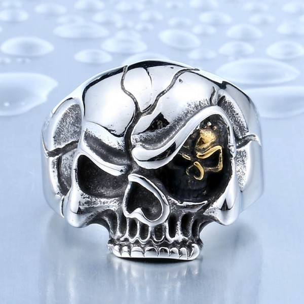 Men's punk titanium steel skull ring