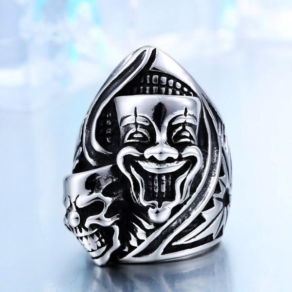 Men's Titanium steel clown ring