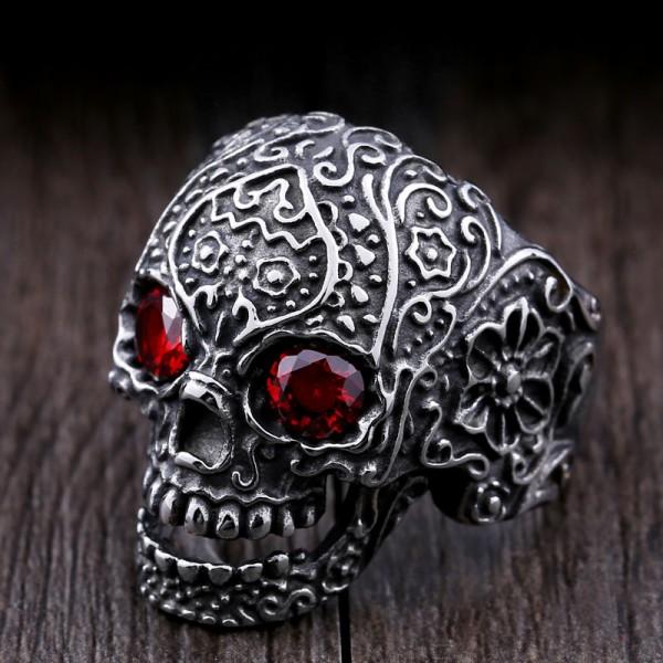 Titanium steel inlaid zircon carved skull ring