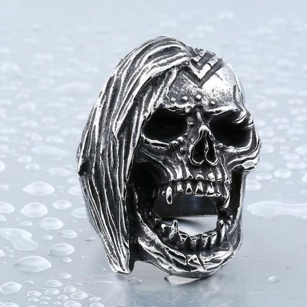 Titanium steel punk style skull ring