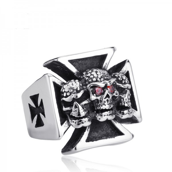 Men's Stainless steel Diamond Cross Skull Ring