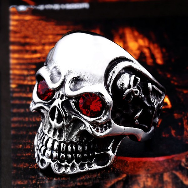 Titanium steel inlaid zircon skull ring