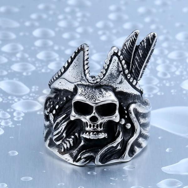 Men's Titanium Steel Pirate Skull Ring