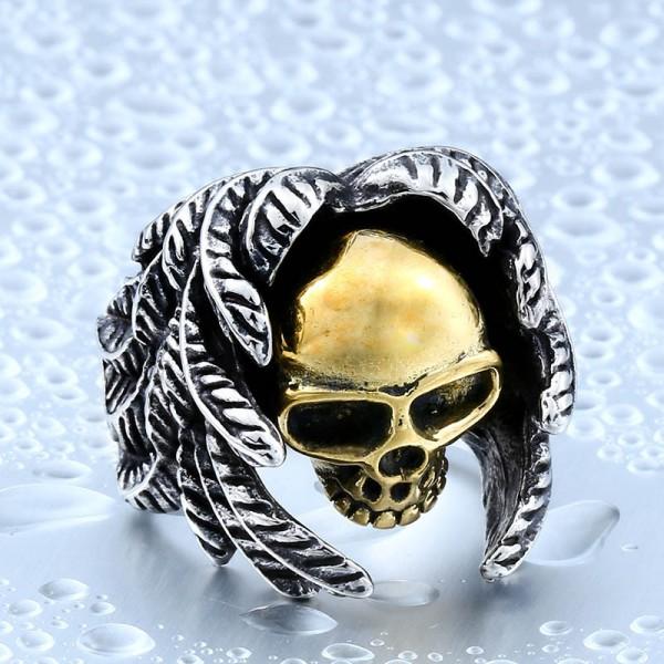 Titanium steel winged skull ring