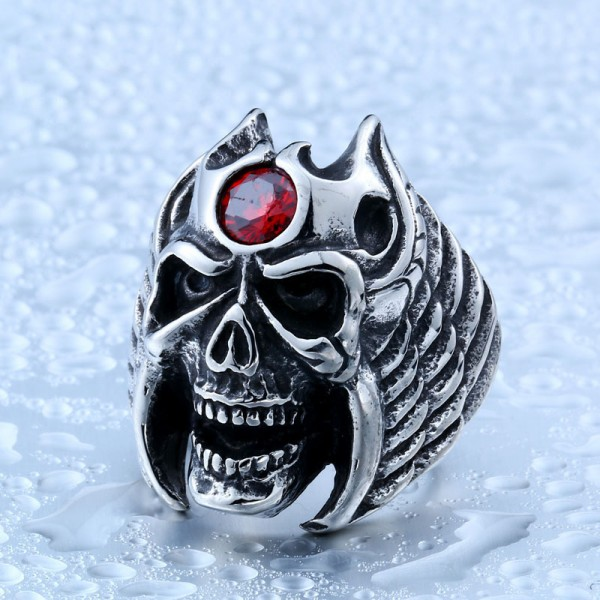 Titanium steel inlaid zircon men's winged skull ring