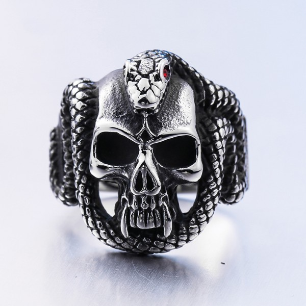Stainless steel diamond-encrusted python Skull ring
