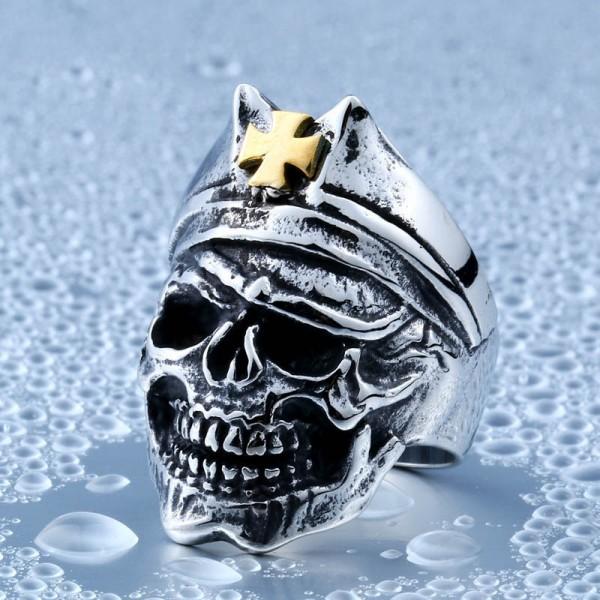 Titanium steel gold cross skull ring