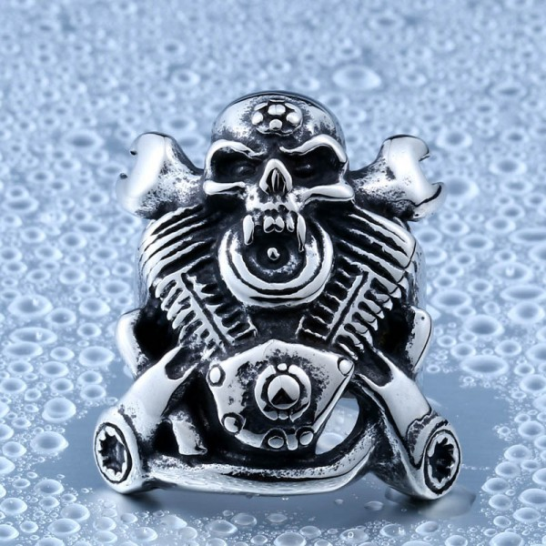 Titanium steel engine wrench skull ring