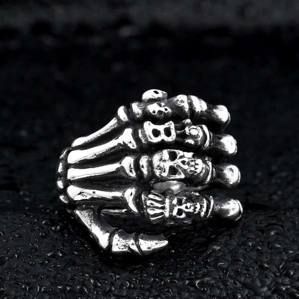 Stainless steel hand bone skull ring