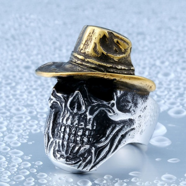 Titanium steel cowboy skull ring