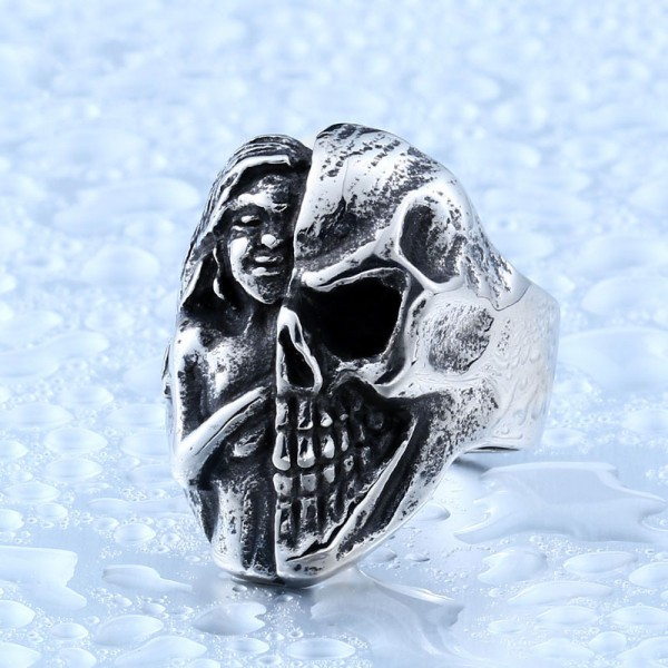Titanium steel Virgin evil skull ring