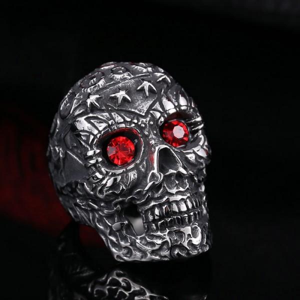 Oversized titanium steel with zircon skull ring