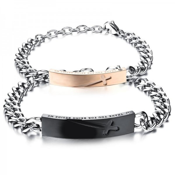 Original Design Cross Lovers Bracelets Valentine's Day Gift Titanium Steel Plated Black Rose Gold Bracelet