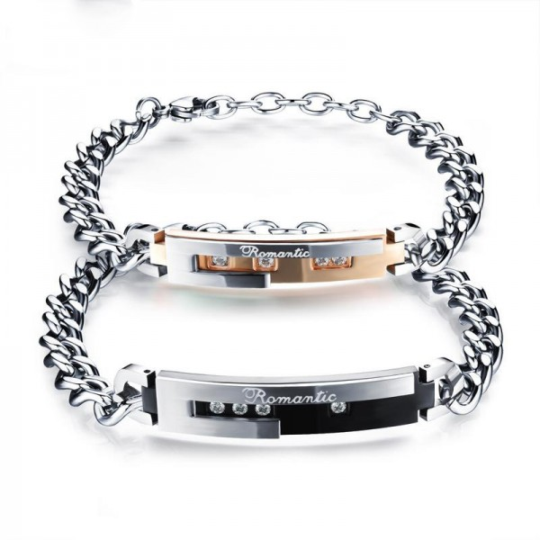 Titanium Steel Lovers Bracelets Plated Black Rose Gold Bracelet Valentine's Day Gift
