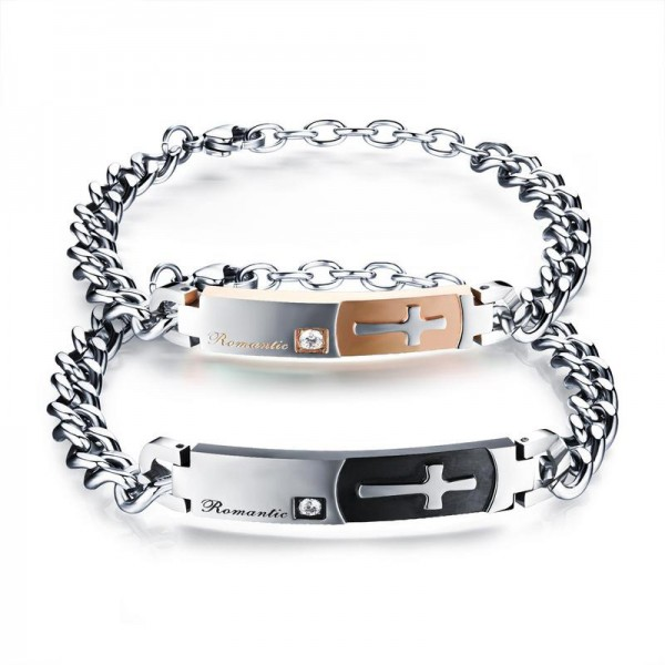 Korean Fashion Valentine's Day Gift Retro Cross Style Classic Lovers Bracelets