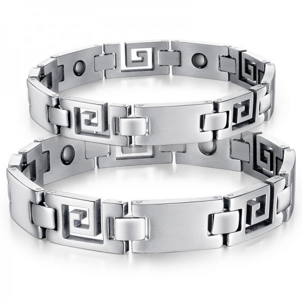 New Style Titanium Steel Bracelet with Energy Magnetic Stone Lovers Bracelets