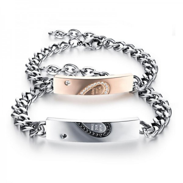 Titanium Steel Lovers Bracelets Classic Creative Heart-Shaped Puzzle Bracelet Valentine's Day Gift