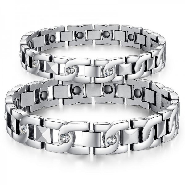 Titanium Steel Lovers Bracelets with Energy Magnetic Stone Fashion Bracelet