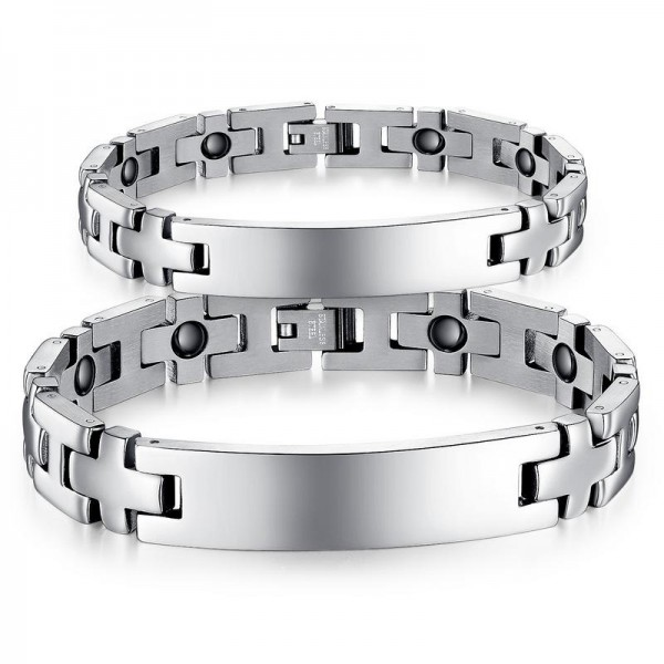 Europe Fashion Titanium Steel Bracelets with Energy Magnetic Stone Lovers Bracelets