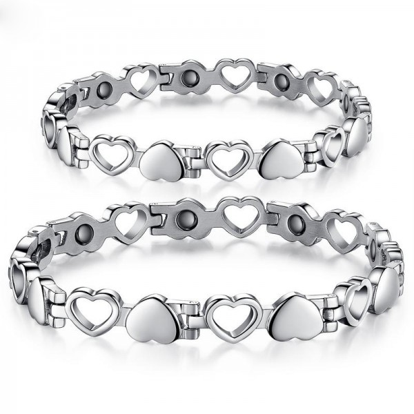Titanium Steel Bracelet with Energy Magnetic Stone Hollow Heart Lovers Present Bracelets