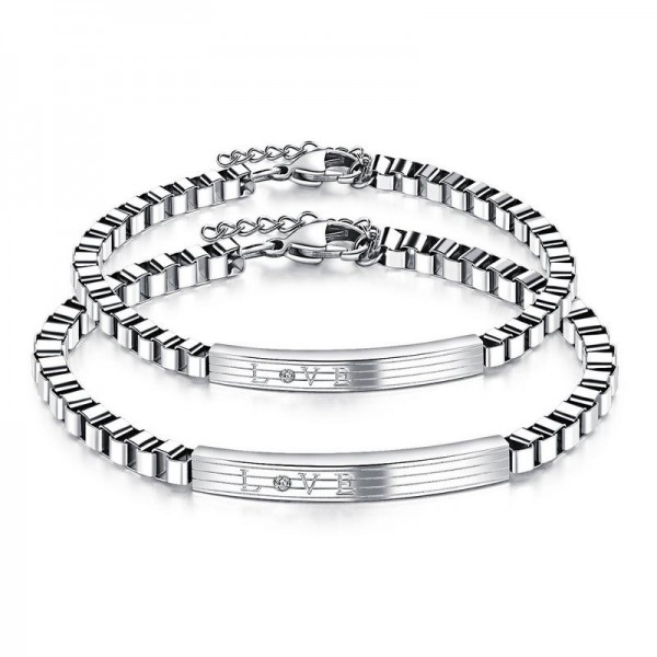 Fashion Cubic Zirconia Inlaid Titanium Steel Lovers Bracelets