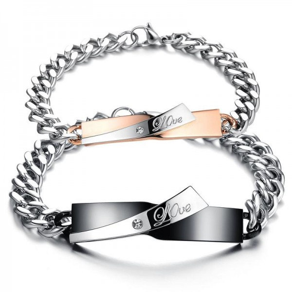 Exquisite Cubic Zirconia Inlaid Titanium Steel Lovers Bracelets