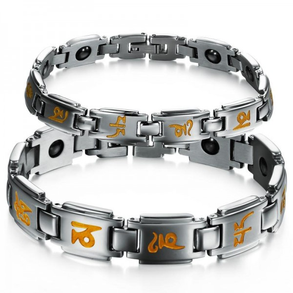 Popular Titanium Steel Lovers Bracelets with Energy Magnetic Stone