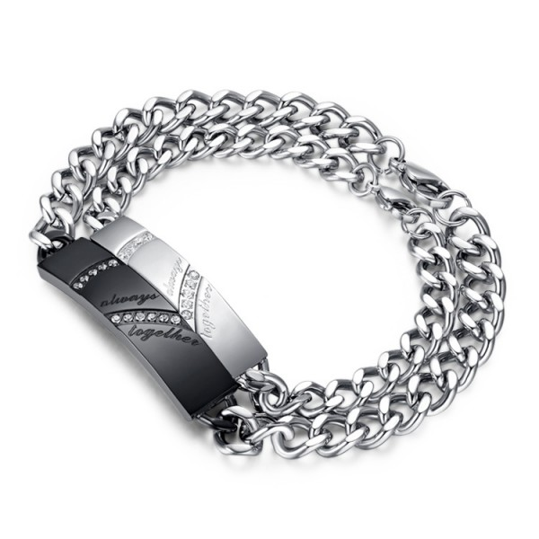 Fashion Heart-Shaped Puzzle Titanium Steel Inlaid Cubic Zirconia Lovers Bracelets