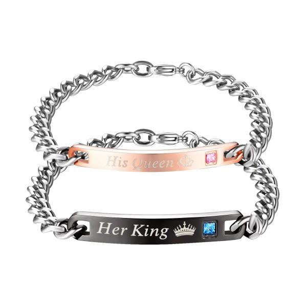 New Titanium Steel Inlaid Cubic Zirconia Crown Prince Couple Bracelet Fashion Simple Valentine's Day Gift