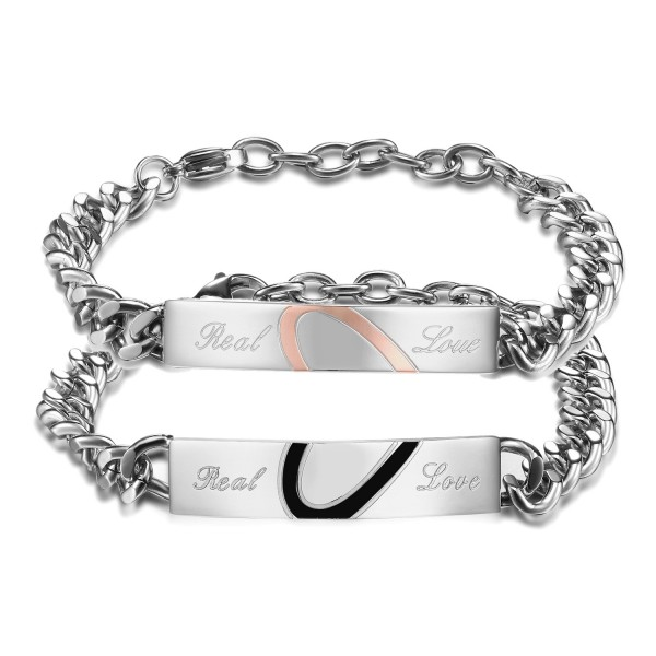 Exquisite Valentine's Day Gift Heart-Shaped Puzzle Titanium Steel Inlaid Cubic Zirconia Lovers Bracelets