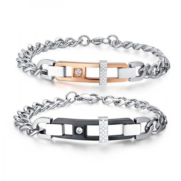 Exquisite Titanium Steel Inlaid Cubic Zirconia Lovers Bracelets