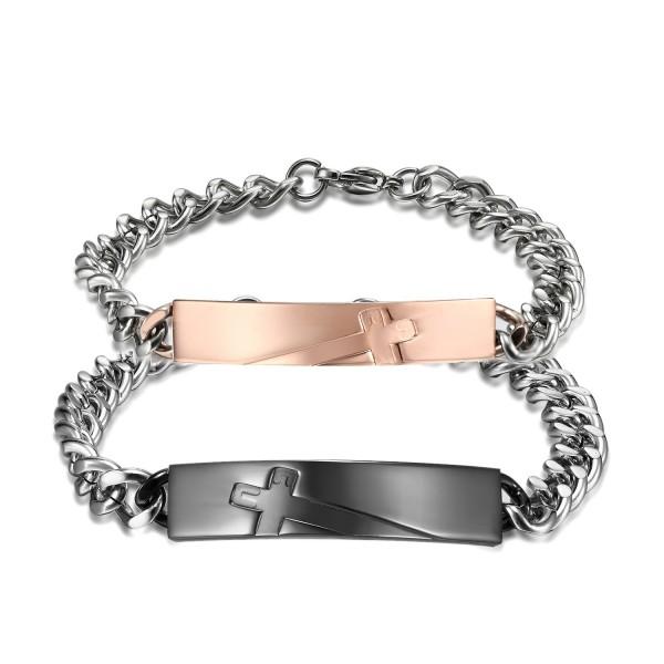 Popular Titanium Steel Inlaid Cubic Zirconia Exquisite Lovers Bracelets