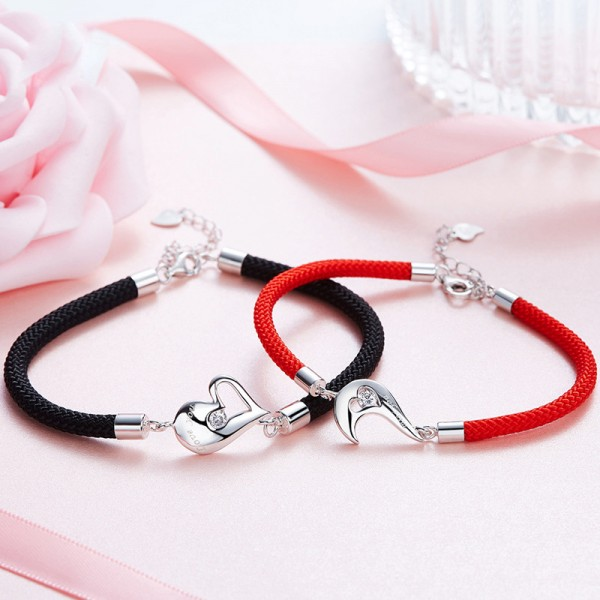 New Fashion Sweet Heart-Shaped S925 Sterling Silver Inlaid Cubic Zirconia Lovers Bracelets