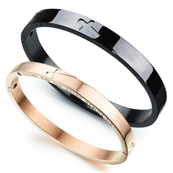 Fashion Cross Style Titanium Steel Black Rose Gold Lovers Bracelets