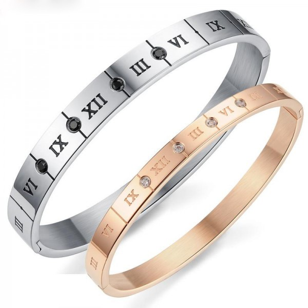 New Fashion Roman Numerals Titanium Steel Inlaid Black and White Cubic Zirconia Lovers Bracelets