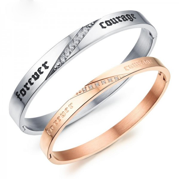 """Simple Opening Stlye Fashion """"Forever Courage"""" Titanium Steel Plated Rose Gold Inlaid Cubic Zirconia Lovers Bracelets"""