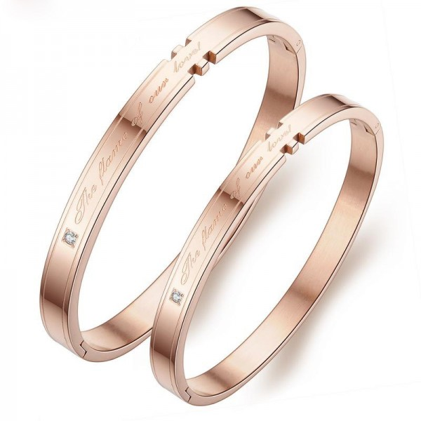 New Arrivals Titanium Steel Inlaid Cubic Zirconia Rose Gold Lovers Bracelets