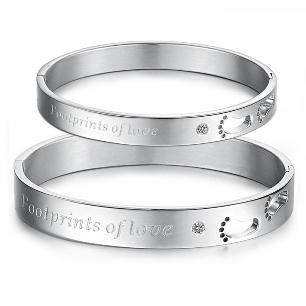 Hollow Foot-Shaped Love Titanium Steel Inlaid Cubic Zirconia Lovers Bracelets