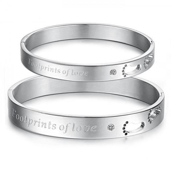 Hollow Foot-Shaped Love Titanium Steel Inlaid Cubic Zirconia Lovers Bracelets
