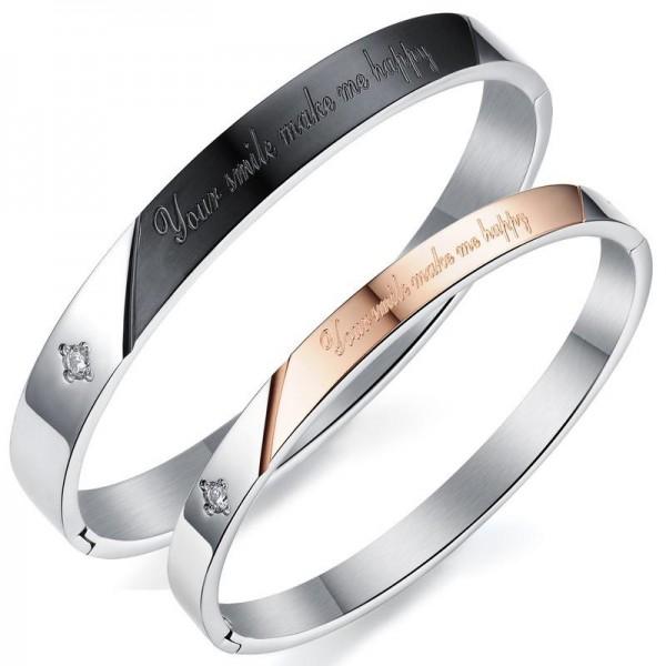 Charm Bracelet Titanium Steel Inlaid Four-leaf Clover Shaped Cubic Zirconia Lovers Bracelets