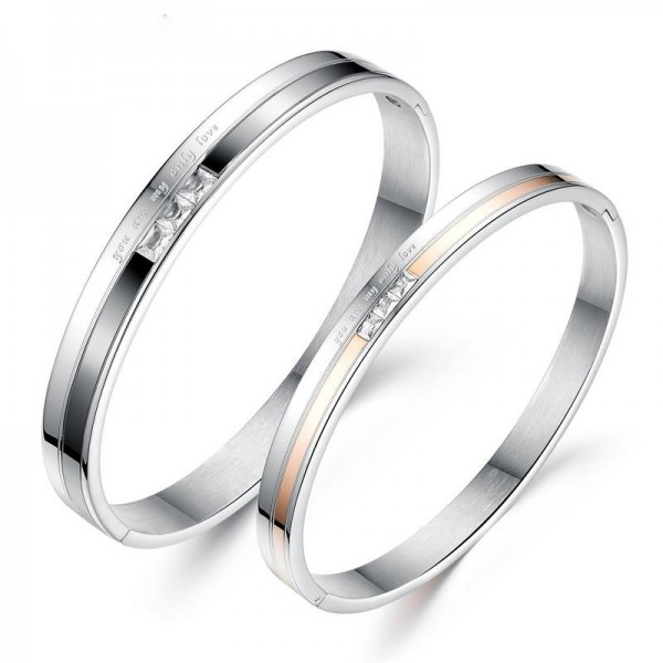 New Arrivals Simple Fashion Titanium Steel Inlaid Cubic Zirconia Lovers Bracelets