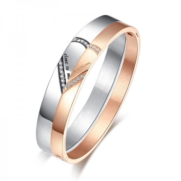 Heart-Shaped Puzzle Bracelet for Love Titanium Steel Inlaid Cubic Zirconia Lovers Bracelets