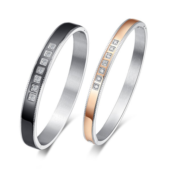 Fashion Bracelets Titanium Steel Inlaid Cubic Zirconia Lovers Bracelets