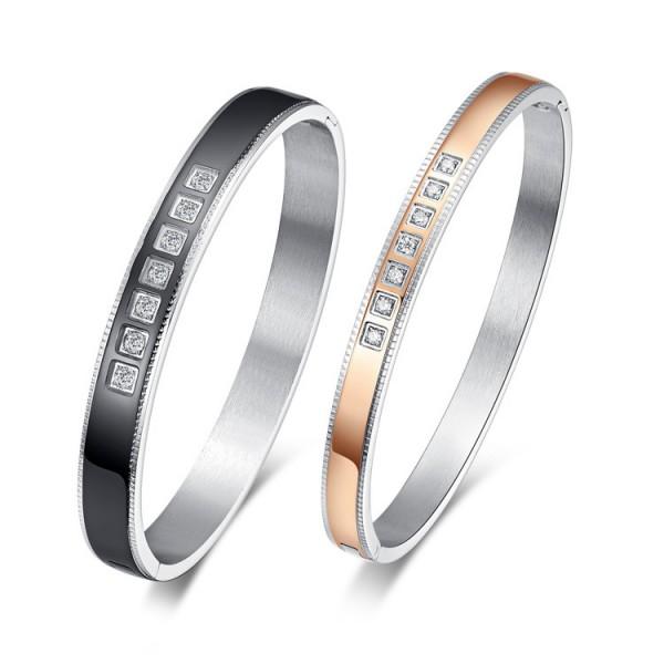 Fashion Bracelets Titanium Steel Inlaid Cubic Zirconia Lovers Bracelets