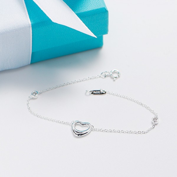Fashion Hollow Heart-Shaped S925 Sterling Silver Women Bracelet